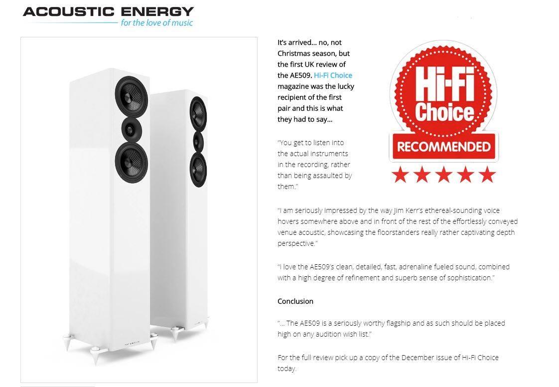 Hi-Fi Choice magazine присудило AE 509 заслуженные 5 звезд